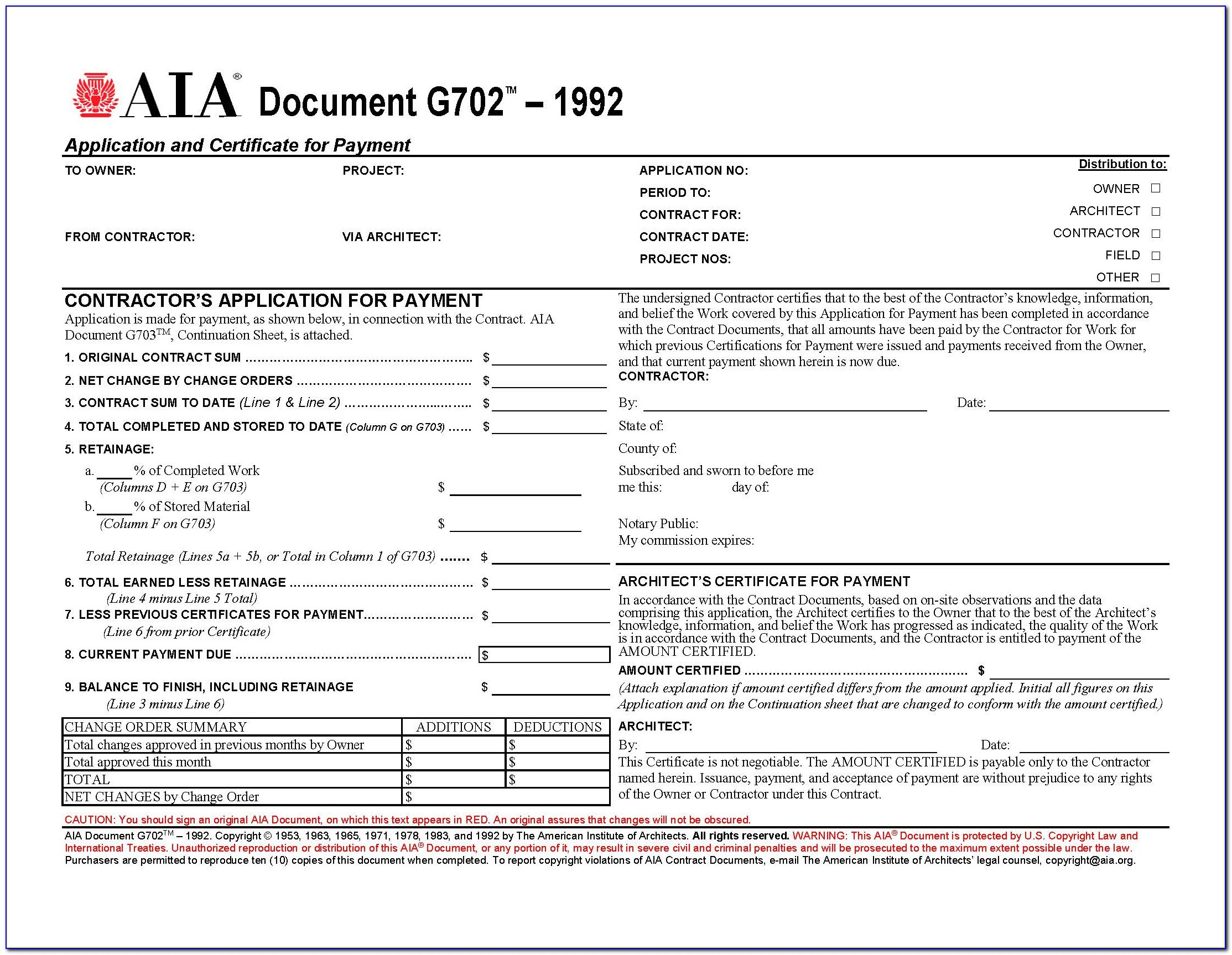 Aia G702 And G703 Forms