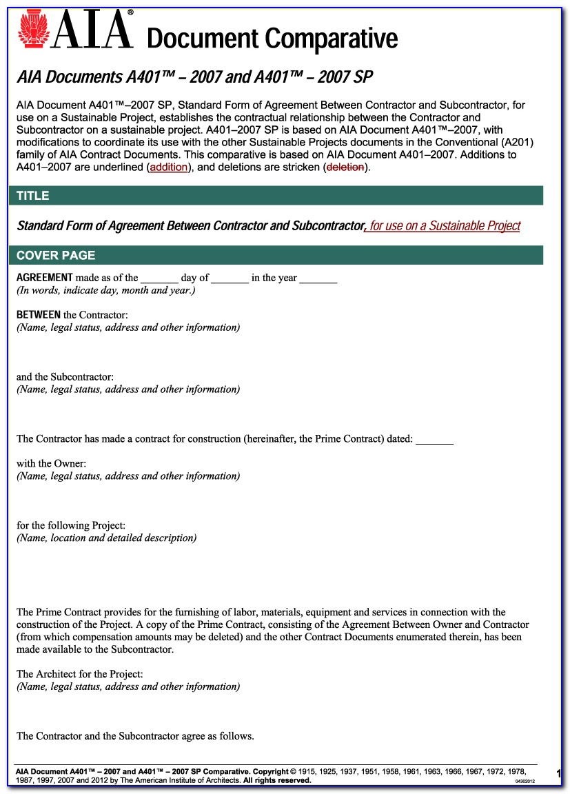 Aia Subcontract Agreement Short Form