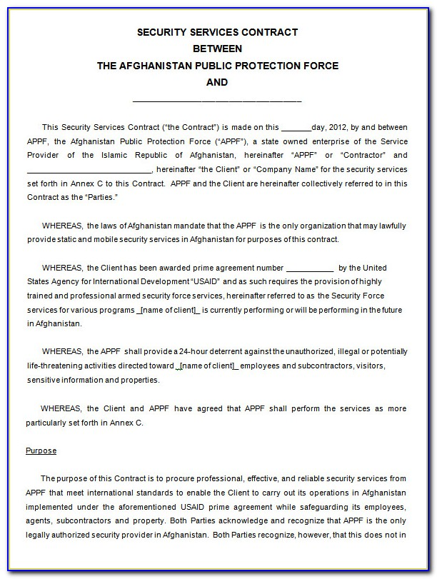 Alarm Installation And Monitoring Contract Template