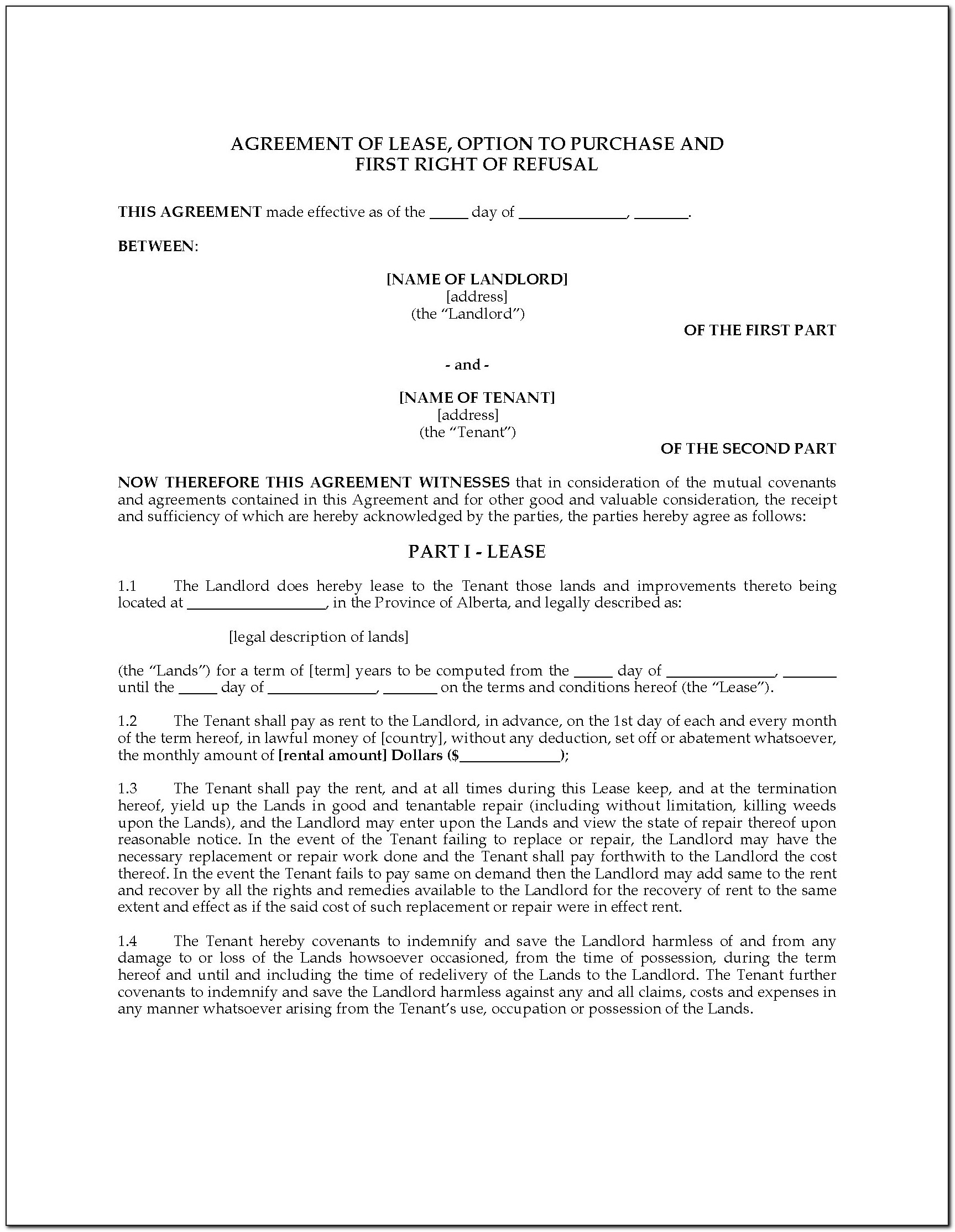 Alberta Commercial Rental Agreement Form