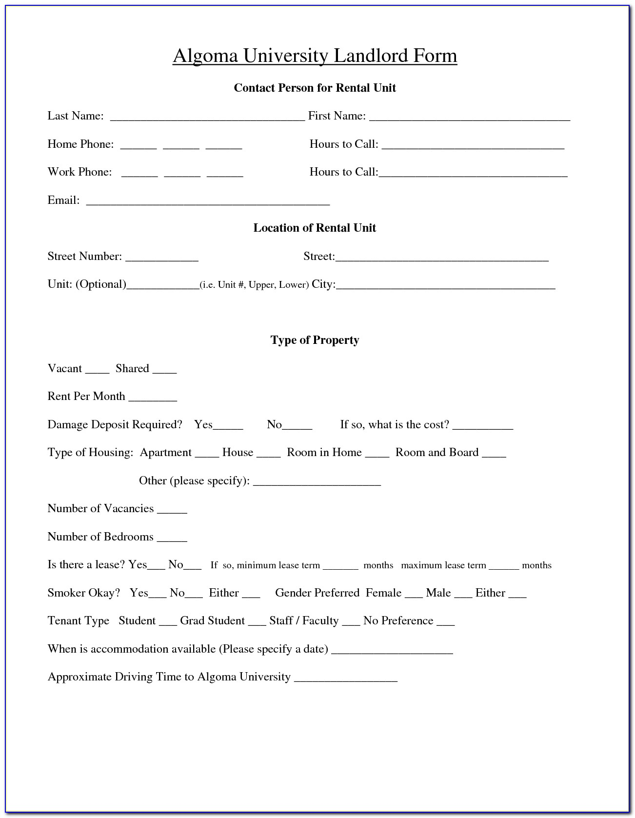 Alberta Landlord Tenant Rental Agreement Form
