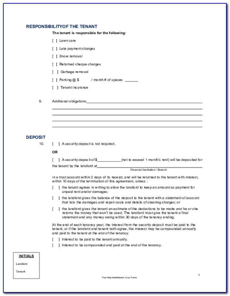 Alberta Room Rental Agreement Form