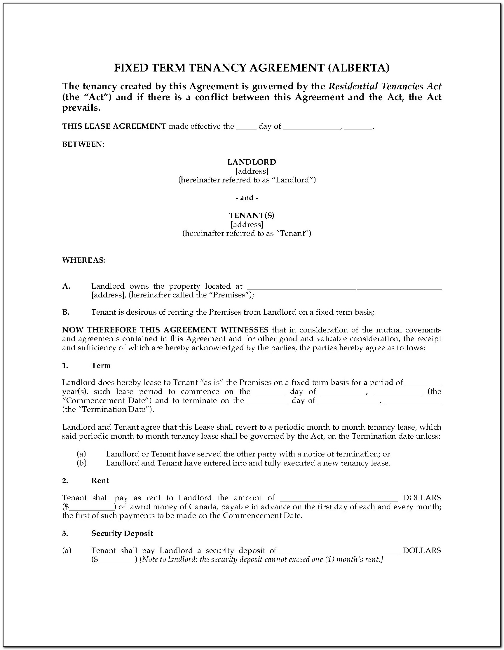 Alberta Standard Rental Agreement Form
