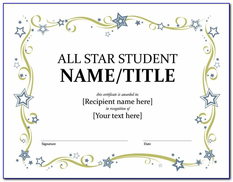 All Star Award Certificate Template