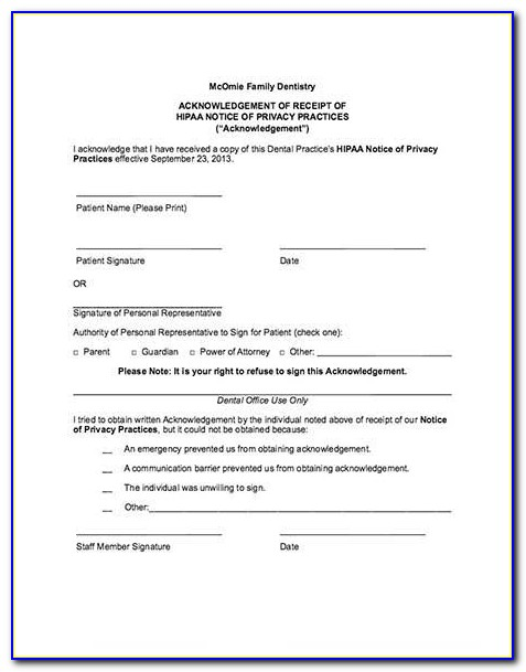 American Dental Association Hipaa Forms