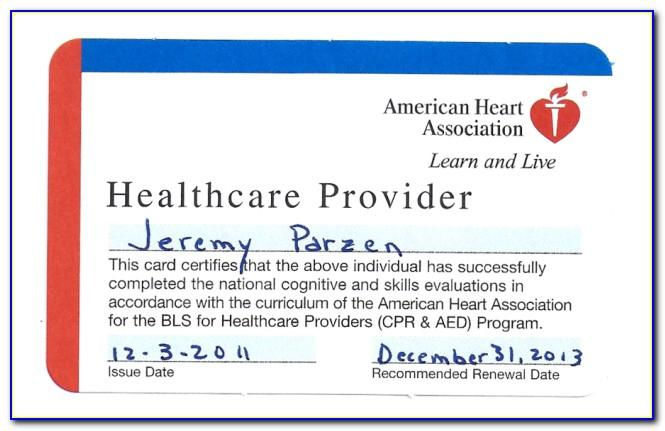 American Heart Association Healthcare Provider Cpr Card Template