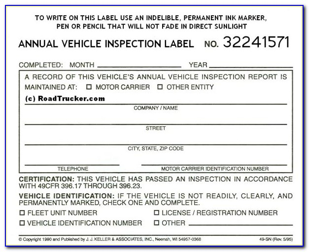 Annual Dot Inspection Forms And Stickers