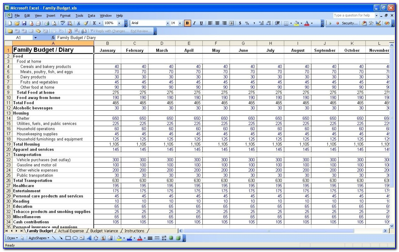 15 Free Personal Budget Spreadsheet | Excel Spreadsheet In Yearly Household Budget Template