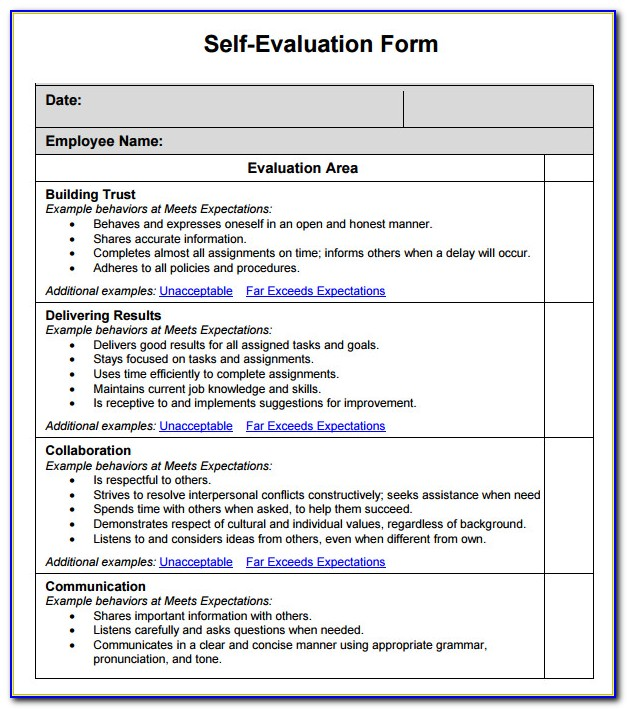 Annual Performance Review Employee Self Evaluation Forms