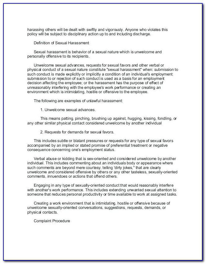 Anti Bullying And Harassment Policy Template