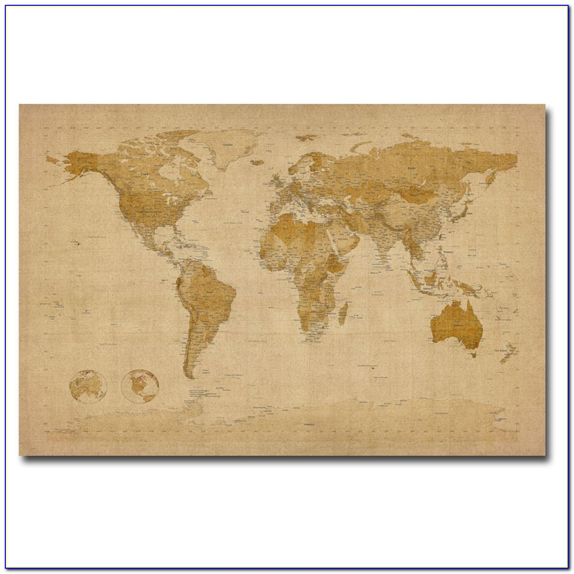 Antique World Map Canvas
