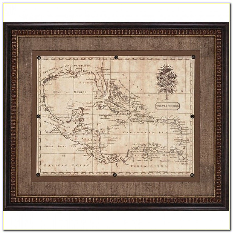 Antique World Map Framed