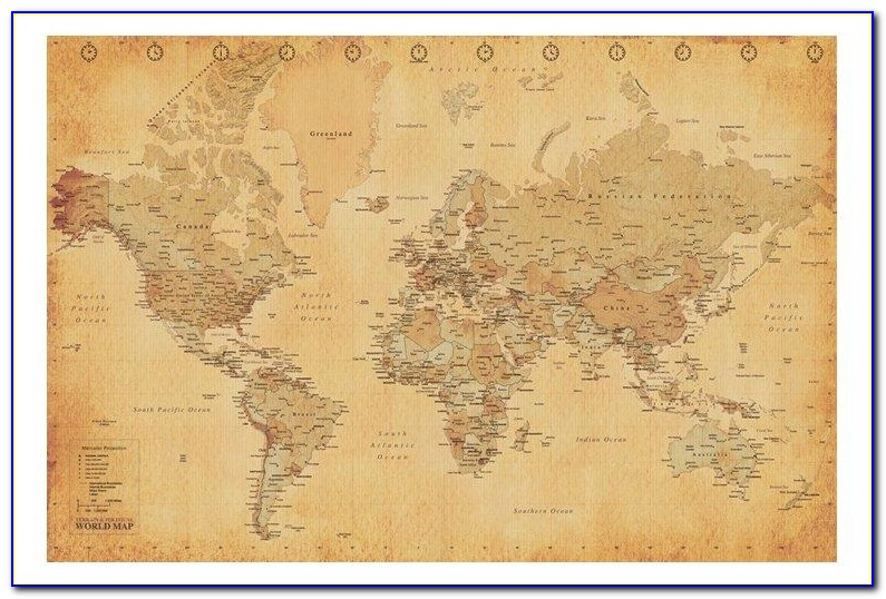 Antique World Map Wallpaper