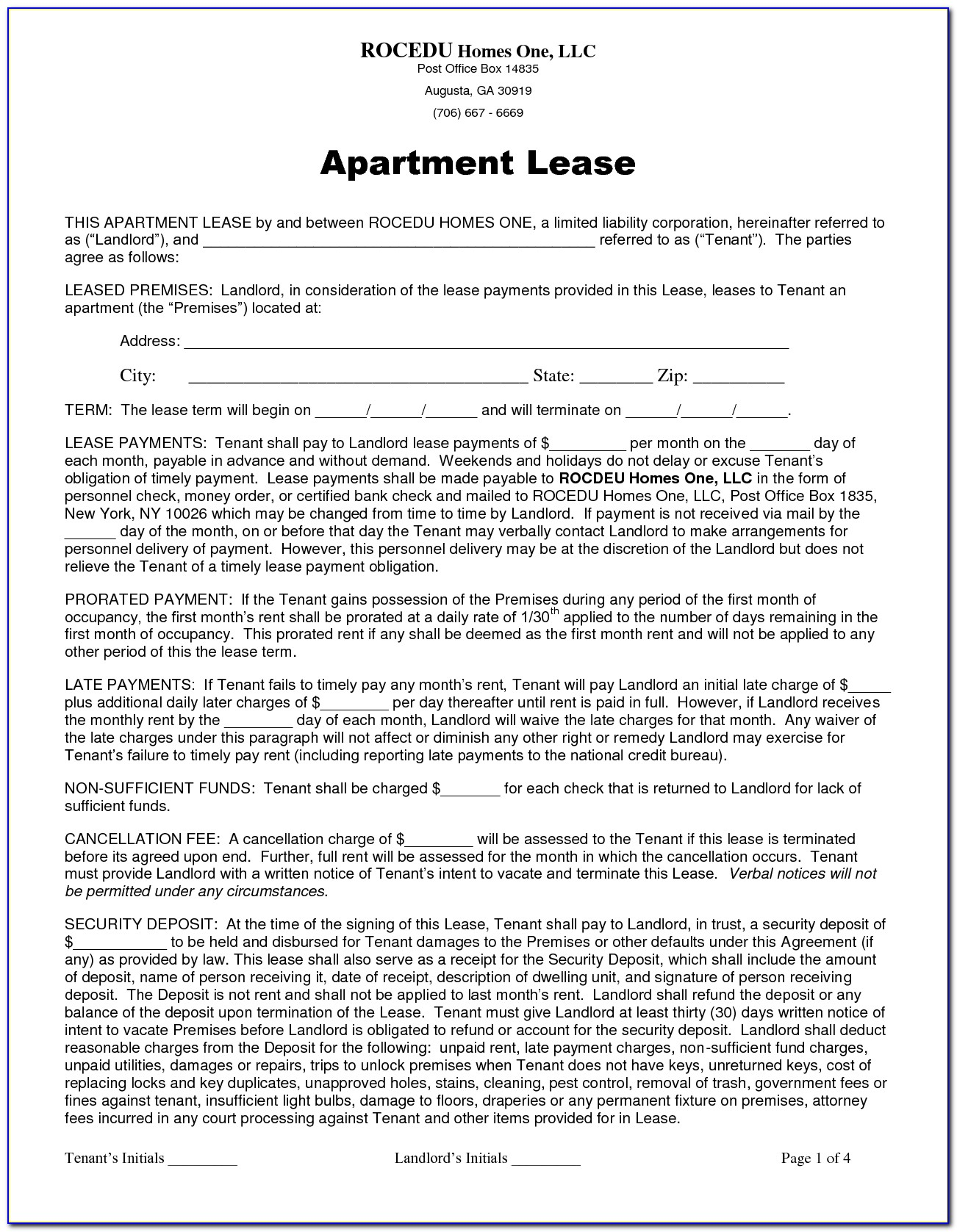 Apartment Lease Agreement Form