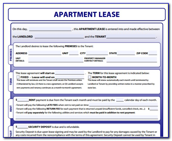 Apartment Lease Agreement Forms