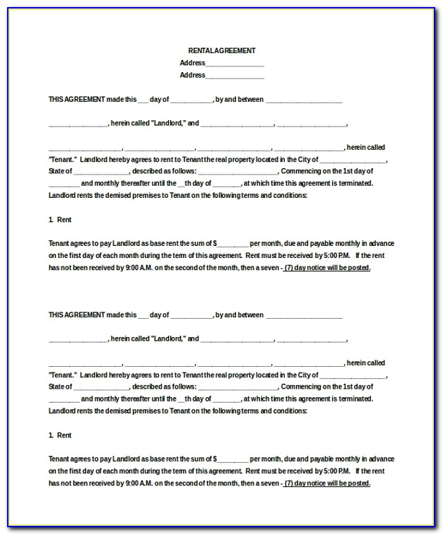 Apartment Lease Agreement Word Format