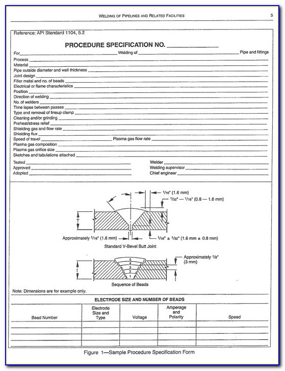 Api 1104 Welding Procedure Specification Form