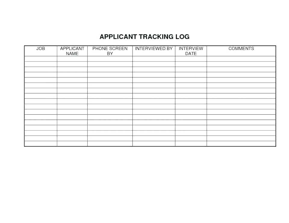 Applicant Tracking Log Template