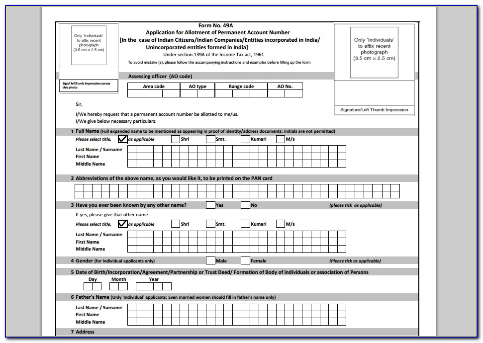 Application Form For Pan Card For Partnership Firm