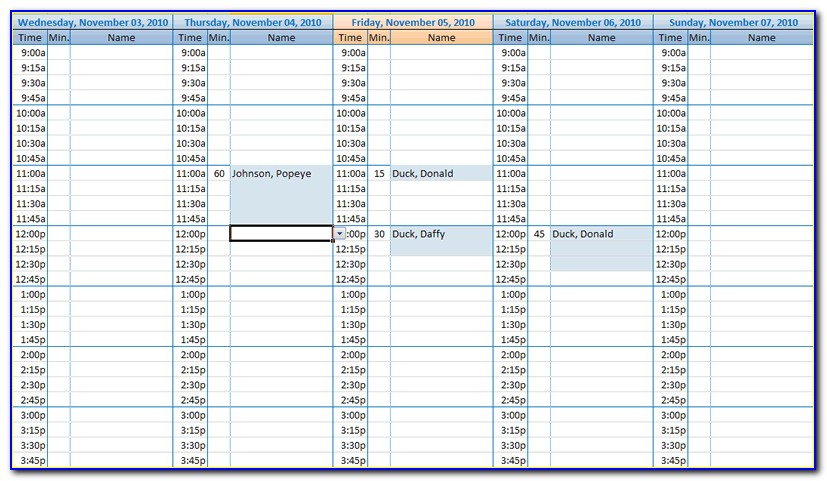 Appointment Book Template Excel