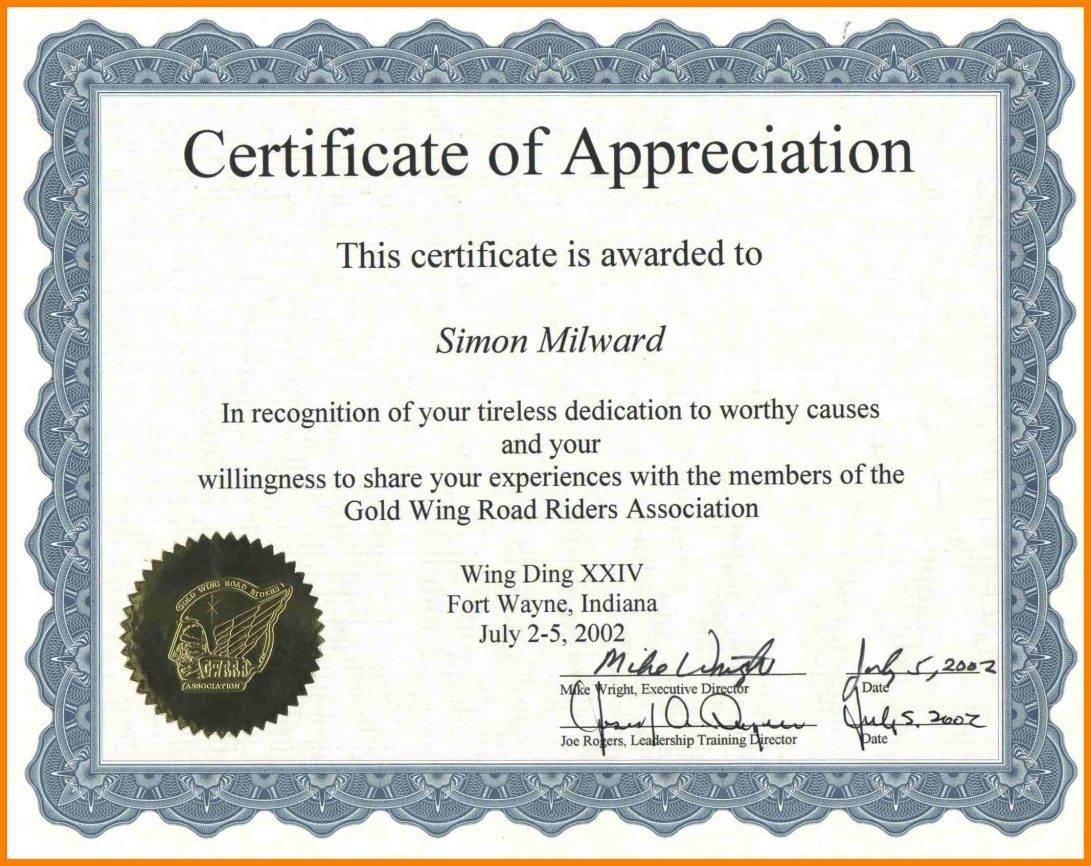 Appreciation Certificate Template Word