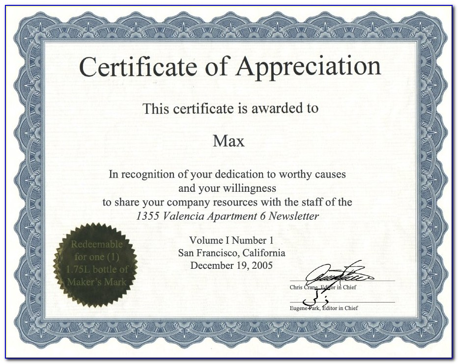 Appreciation Certificate Templates Word