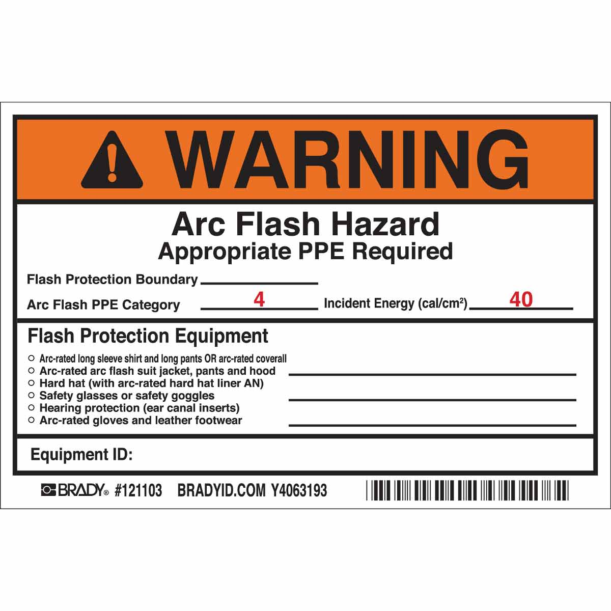Arc Flash Hazard Label Template
