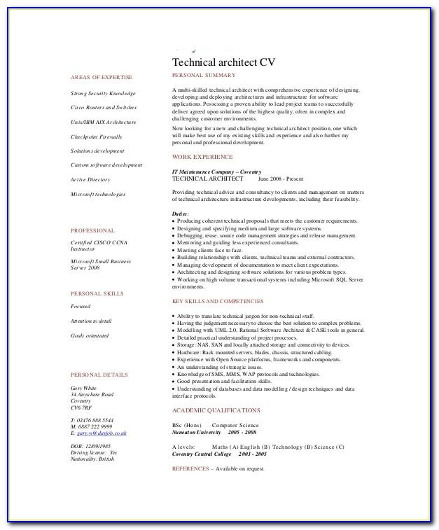 Architecture Resume Template Free Download