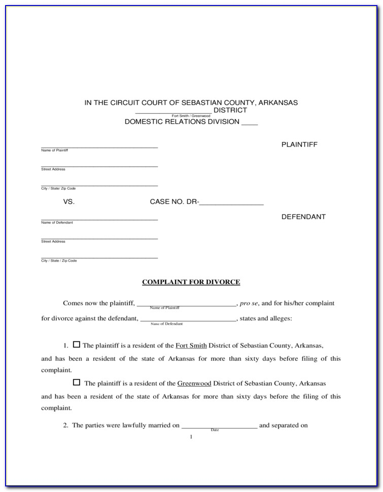 Arkansas Divorce Forms Pdf