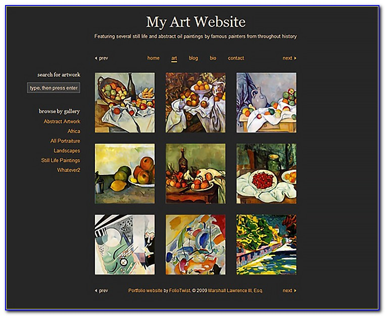 Art Gallery Website Templates Free Download