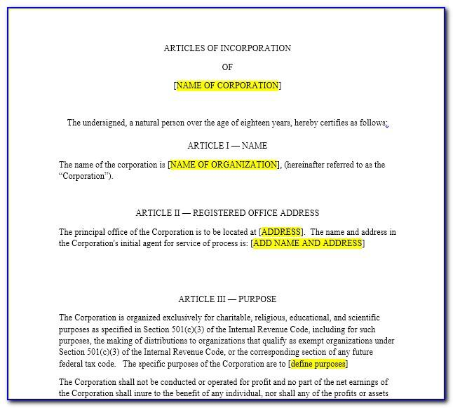 Articles Of Incorporation Nonprofit Template