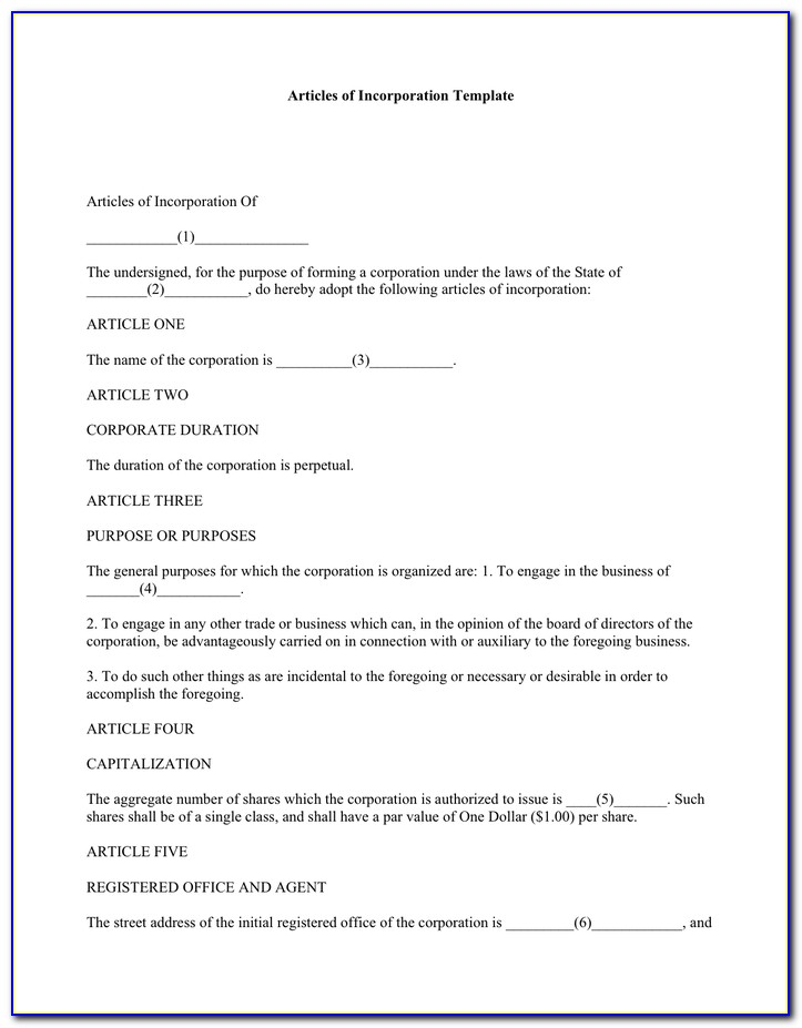 Articles Of Incorporation Template Free