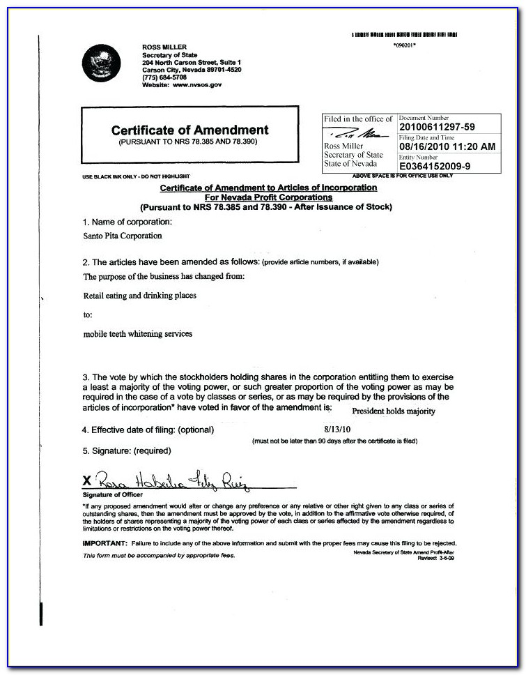Articles Of Incorporation Template Texas 1