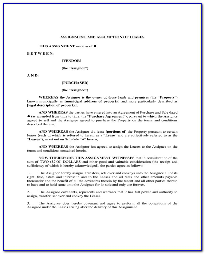 Assignment And Assumption Of Lease Form New York