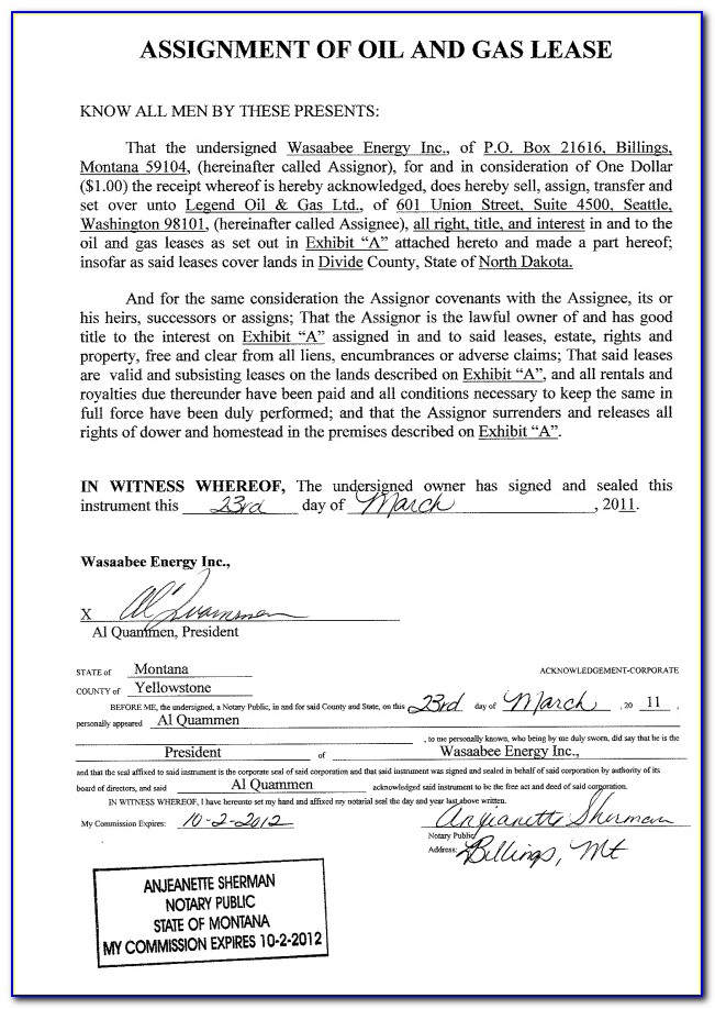 Assignment Of Oil And Gas Lease Form Oklahoma