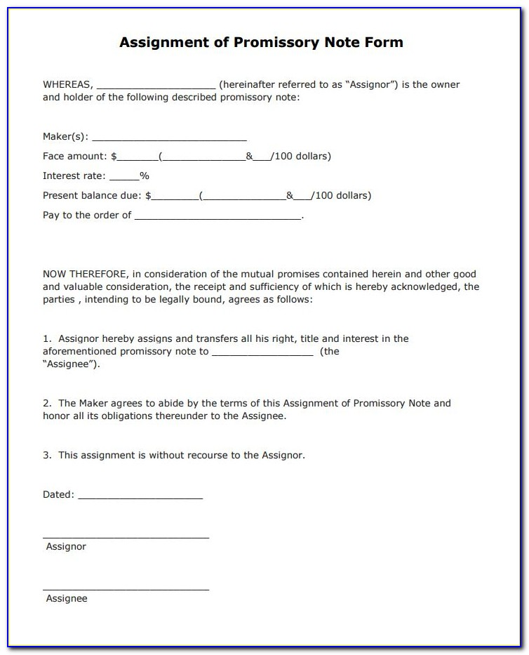 Assignment Of Promissory Note Form