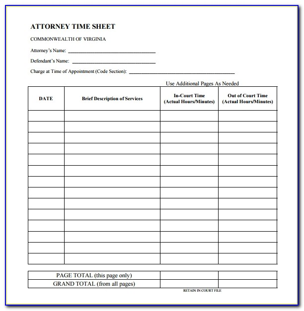 Attorney Billable Hours Template Excel