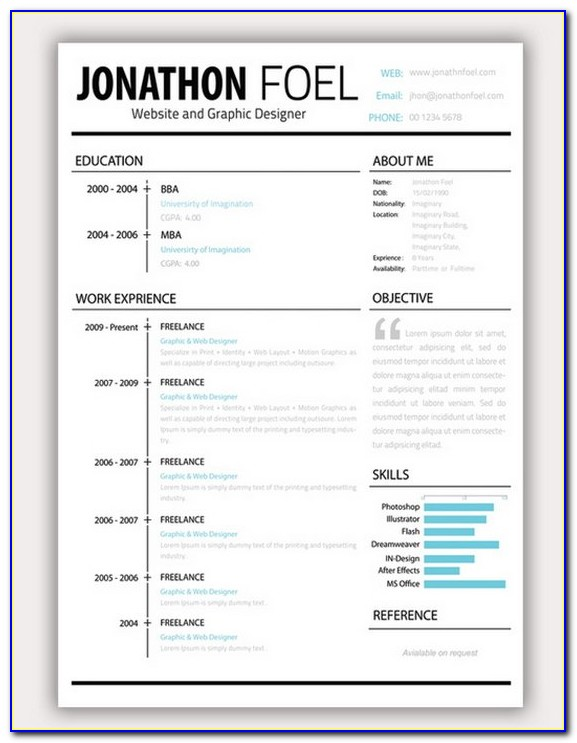 Attractive 2 Page Resume Templates Free Download