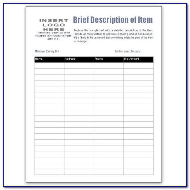 Auction Bid Number Cards Template