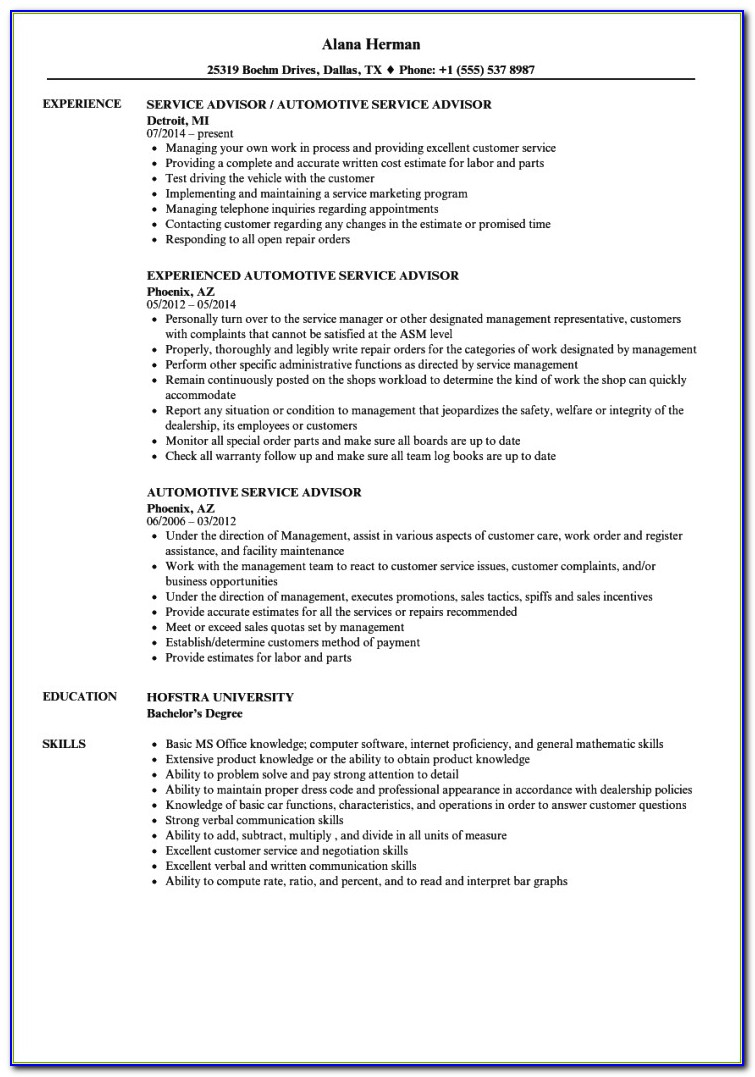 Automotive Service Advisor Resume Examples Brilliant Ideas For