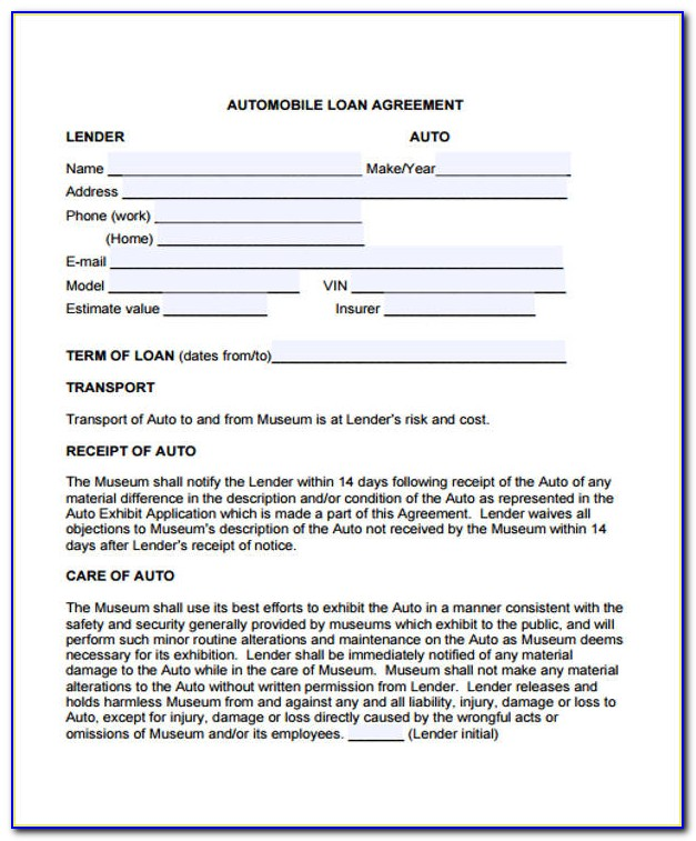 Auto Financing Contract Sample
