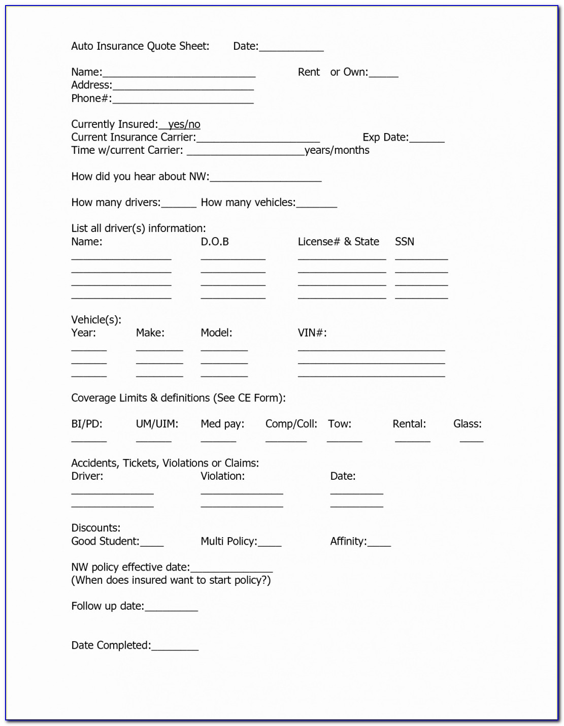 Request For Proposal Form Template Beautiful Auto Insurance Forms Insurance Proposal Template