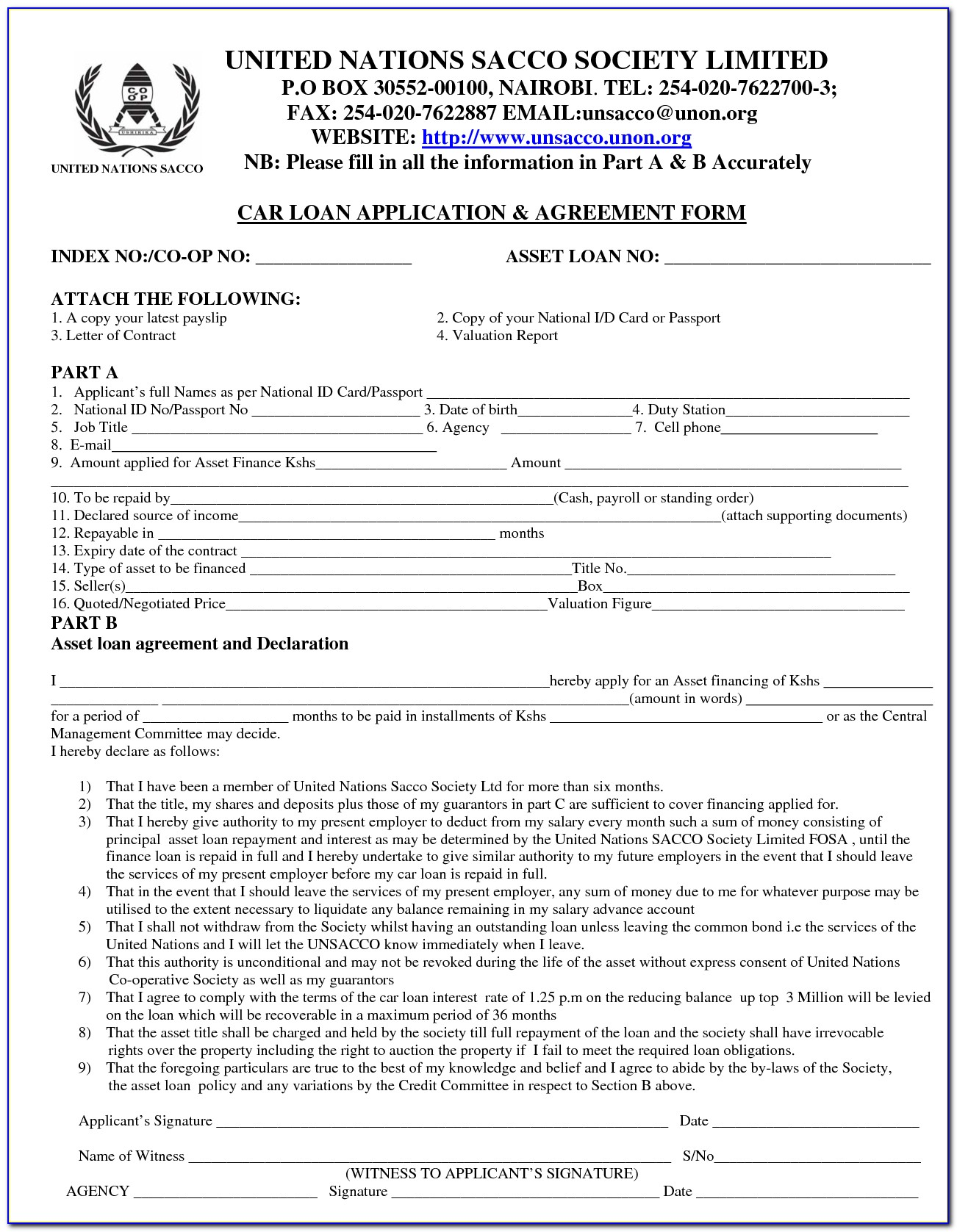 Auto Loan Agreement Template Download