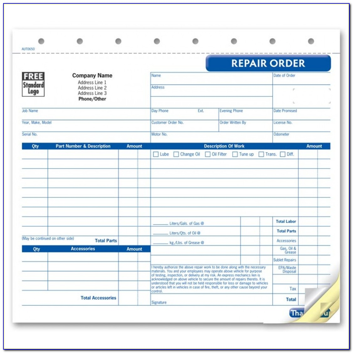 Auto Repair Forms Free Download