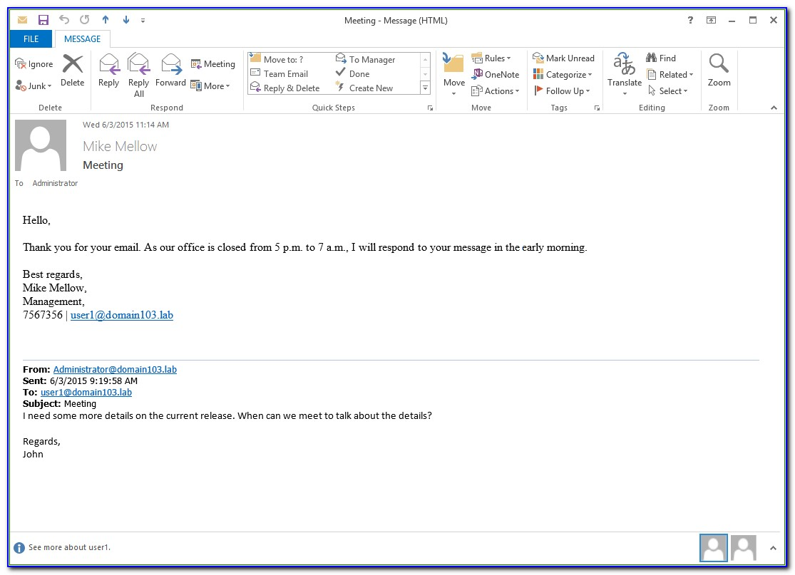 Auto Reply Message Template