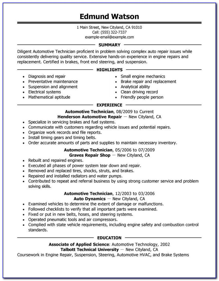 Automotive Mechanic Cv Template