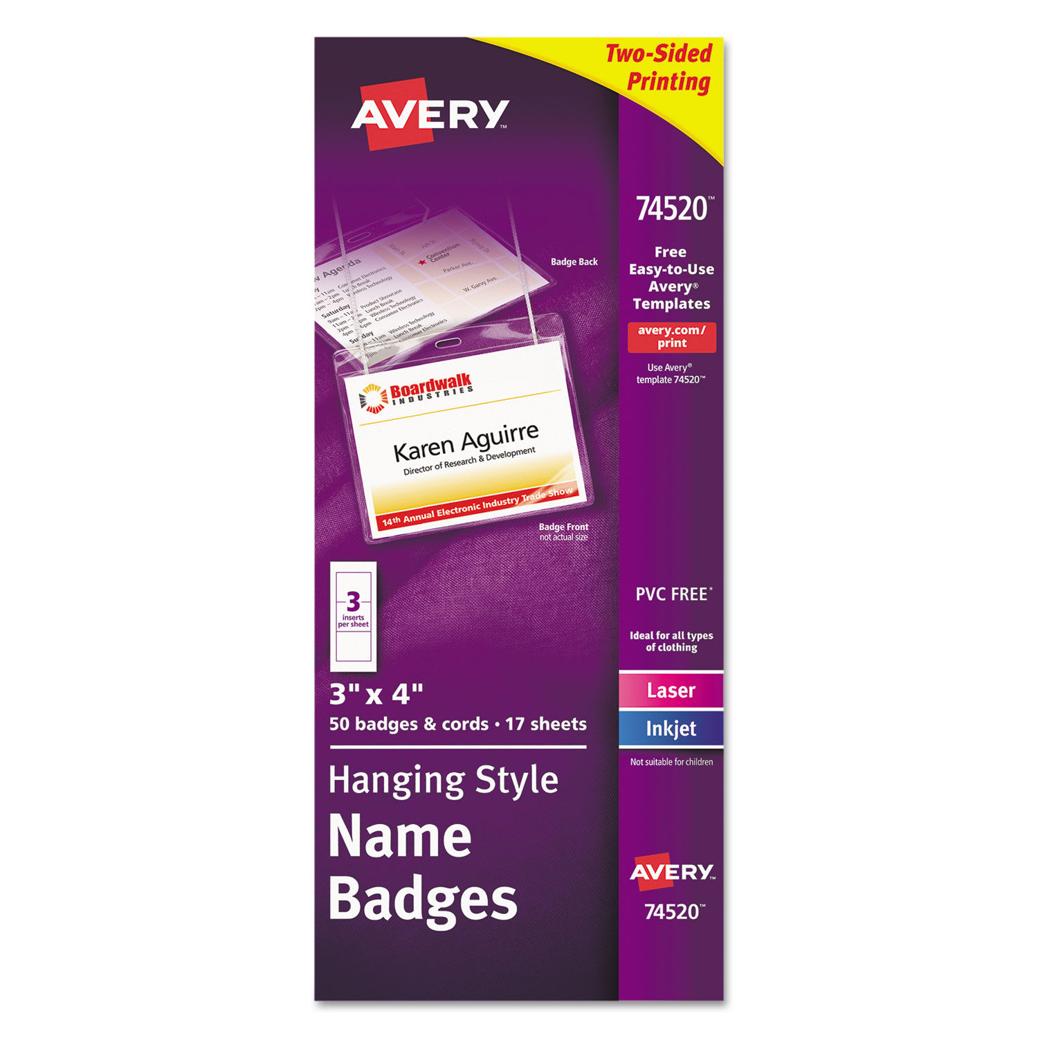 Avery 4×3 Name Badge Template