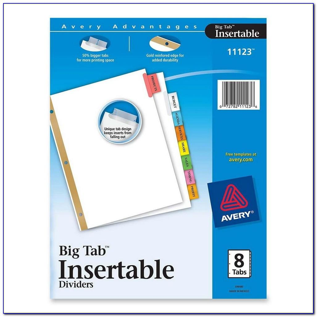 Avery 8 Tab Insertable Dividers Template
