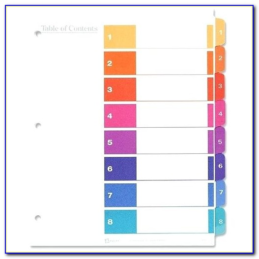 Avery Index Maker Clear Label Dividers 8 Tab Template 11447