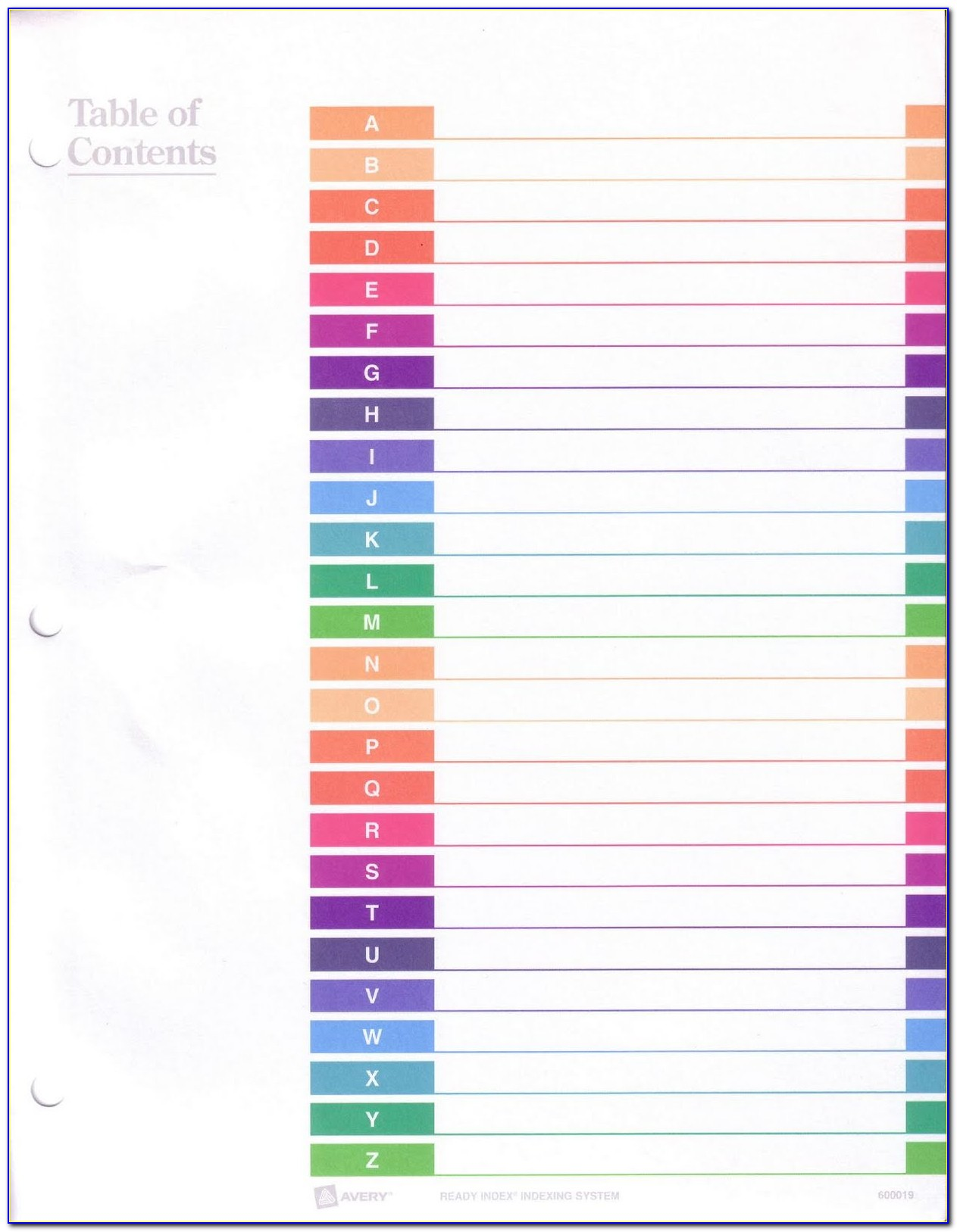 Avery Index Tabs Template